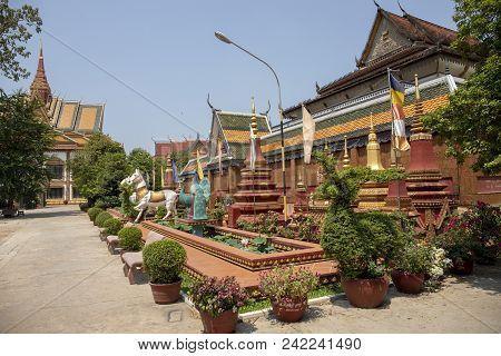 Siem Reap, Cambodia - 27 March 2018: Preah Promaeath Pagoda Building Decor. Buddhist Temple In South
