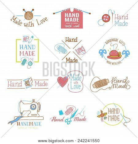Handmade Logo Vector Wool Knitting Needles Or Sewing Handcraft Hobby Workshop Logotype Illustration