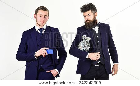 Savings Concept. Men In Suit, Businessmen With Jar Full Of Cash And Credit Card, White Background. M