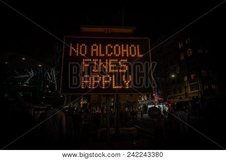 No Alcohol Fines Apply Sign Prohibiting Alcohol Consumption