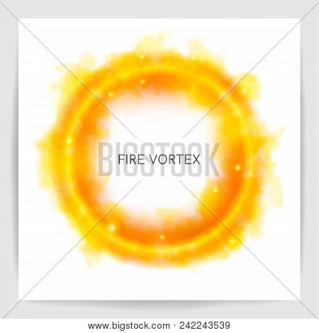 Realistic Round Light Fire Flame Swirl. Watercolor Fire Vortex. The Circle Fire On White Background.