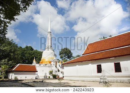 Phra Mahathat Chedi For Thai People Visit And Respect Praying At Wat Kiean Bang Kaew In Khao Chaison