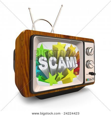 An old fashioned television shows the word Scam on an infomercial broadcast to cheat, deceive and employ shady, scamming marketing practices to con people out of their money