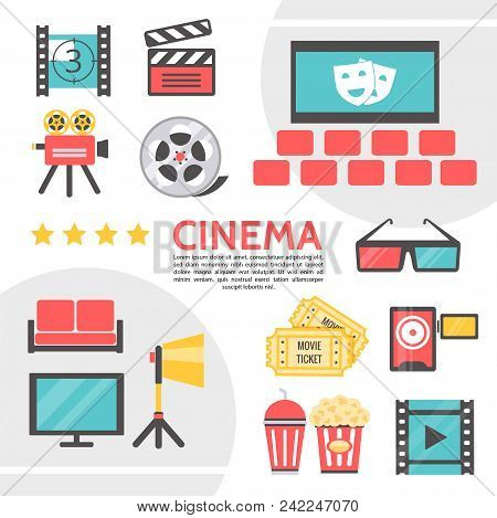 Flat Cinematography Icons Collection With Filmstrip Movie Camera Clapboard Cinema Hall Film Reel Eye
