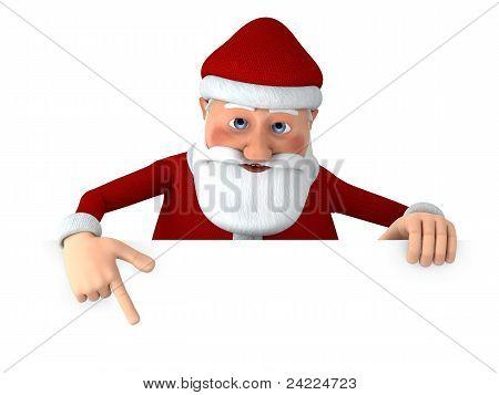 Santa Pointing At Blank Sign