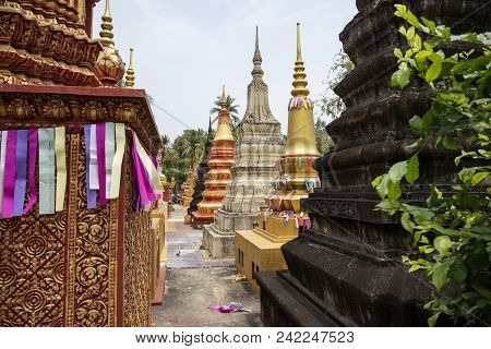 Wat Damnak Burial Pagodas In Siem Reap, Cambodia. Colorful Buddhist Pagoda Architecture. Cambodian R