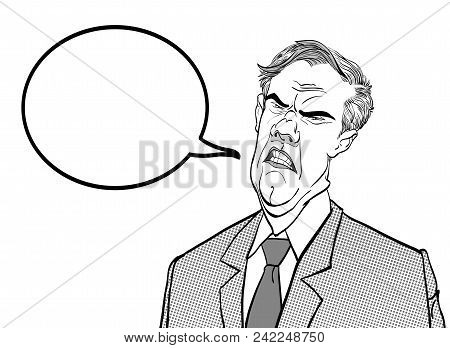 Angry Boss. Annoyed Politician. Angry Man. Speaking Politician Vector Illustration