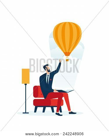 Reading Of Books. A Reading Person Imagines A Balloon. Illustrates The Benefits Of Reading, Educatio