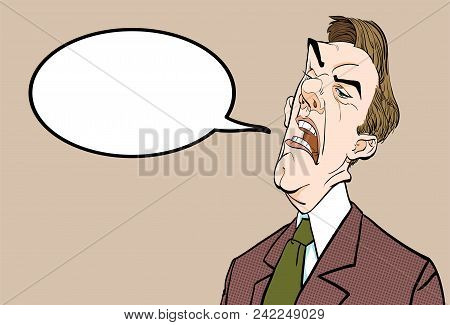 Angry Boss. Annoyed Politician. Angry Man. Speaking Politician Vector Illustration. Vector Illustrat
