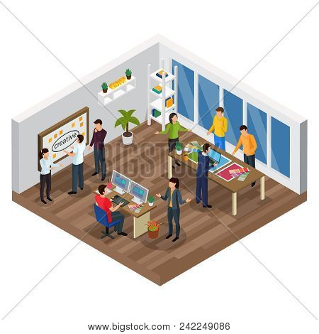 Advertising Agency Isometric Composition With Creative Team, Planning Process, Computer Designer, Of