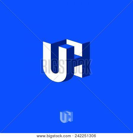 Uh Logo. U And H Letters. 3d Blue Emblem On A Dark Background. Monochrome Option.