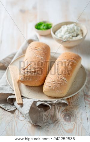 Healthy Sandwich With Fromage Cheese, Lettuce And Crunchy Bread