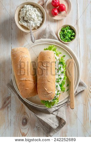 Tasty Sandwich With Fromage Cheese, Lettuce And Crunchy Bread