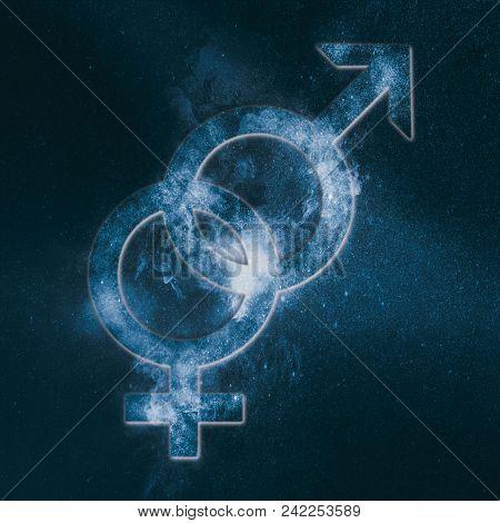 Heterosexual Symbol. Heterosexual Sign. Abstract Night Sky Background