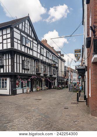 Shrewsbury, Shropshire, Uk - May 19, 2018: Butcher Row Pedestrian Street In Shrewsbury  Shropshire