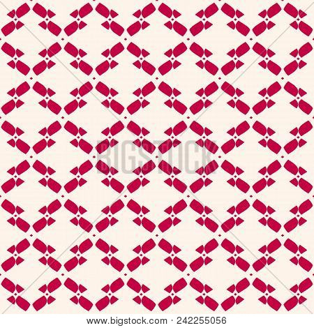 Vector Abstract Geometric Seamless Pattern. Red And Beige Colors. Traditional Folk Style Ornamental