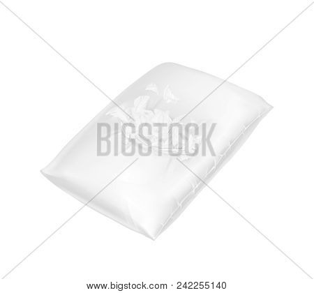 Vector 3d Realistic Torn Square Pillow. Template, Mock Up Of White Fluffy Comfortable Cushion With F