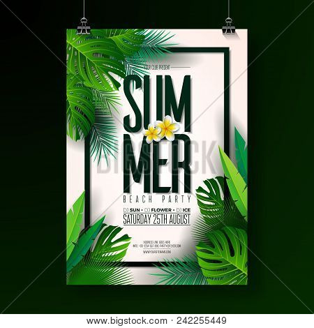 Vector Summer Beach Party Flyer Design With Typographic Elements On Exotic Leaf Background. Summer N