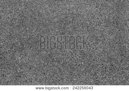 Seamless Asphalt Road Background. Grainy Texture With Gravel Particles, Small Stones, Black, Gray An