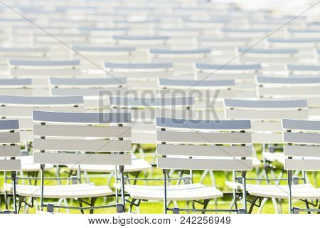 White Chair Rows In A Spa Park