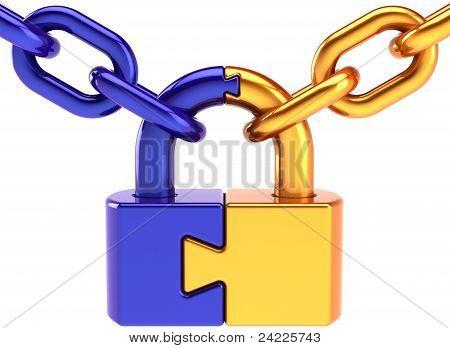 Lock padlock security puzzle concept