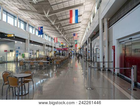 Washington Dc - May 3, 2018: Interior Of The A Terminal Building At Washington Dulles Airport