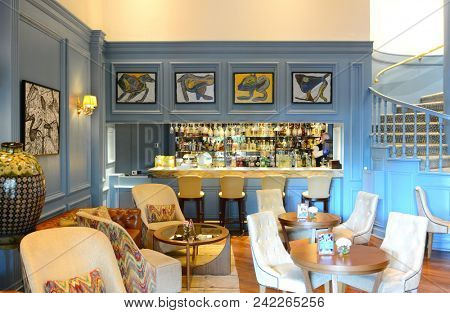 LIMA, PERU - OCTOBER 18, 2015: Belo Bar in the Miraflores Park Hotel. The bar is a popular nightlife spot for the city's trendsetters.