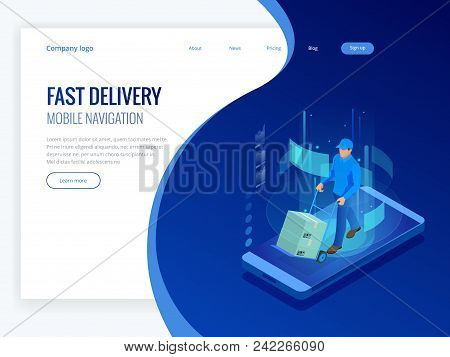 Isometric Online Express, Free, Fast Delivery, Shipping Concept. Checking Delivery Service App On Mo