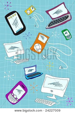 Tech Devices Icons Set Illustration