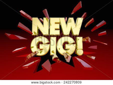 New Gig Job Work Task Project Words 3d Render Illustration
