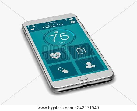 Smartphone With A Medical App, White Background, (3d Render)