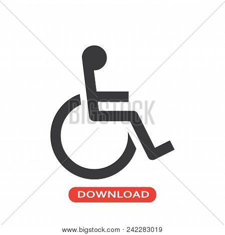 Wheelchair Vector Icon Flat Style Illustration For Web, Mobile, Logo, Application And Graphic Design