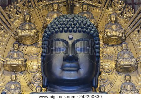 The Head Of Great Buddha (daibutsu) In The Main Hall Of Todaiji Temple