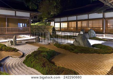 Koyasan, Japan - April 30, 2014: A Traditional Rock Garden Inside A Japanese Ryokan. A Rock Garden,