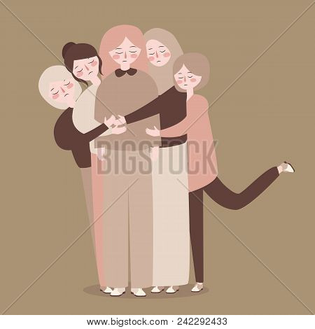 Friends Group Young People Bonding Hug Casual Concept Vector