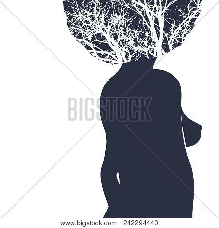 Sexy Women Silhouette. Fashion Mannequin. Double Exposure. Tree Branches As Hair