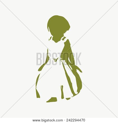 Silhouette Of Pretty Little Girl Wearing Dress