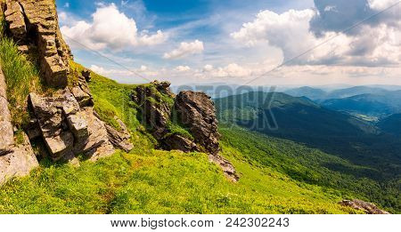 Beautiful Mountain Scenery In Summer. Gorgeous View From Rocky Cliff In To The Valley. Amazing Carpa