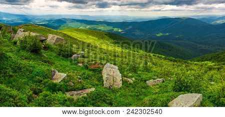 Panorama Of Runa Mountain With Boulders On Hills. Gorgeous Landscape Of Amazing Carpathian Mountains