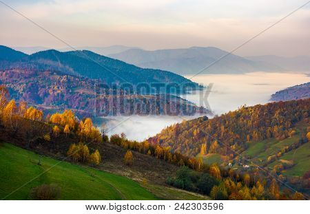Beautiful Autumn Dawn In Mountainous Rural Area. Yellow Foliage On Trees And Fog In The Distant Vall