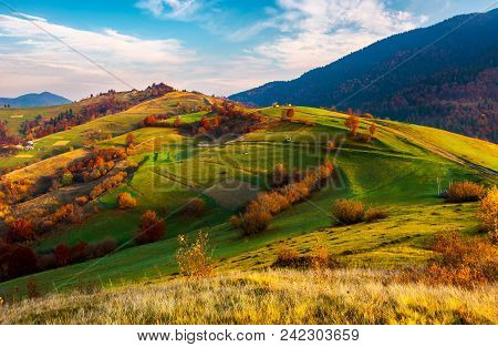Beautiful Mountainous Countryside In Autumn. Vivid Fall Colors At Sunrise Under The Gorgeous Sky. Dr