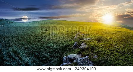 Time Change Concept With Sun And Moon Over Panoramic Landscape. Lovely Summer Scenery With Boulders