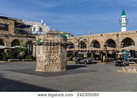 Acre, Israel - March 23, 2018: Khan Ahawardh In The Old City Of Akko