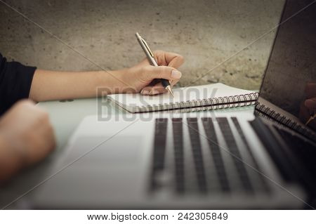 Business Woman Working At Office With Laptop And Documents On His Desk, Business Woman Holding Pens
