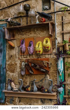 Acre, Israel - March 23, 2018: Flowers On The Wall In The Old City Of Akko