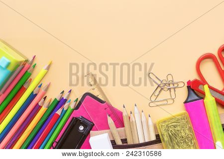 Welcome Back To School Background, Colorful Color Pencil And Stationery Bag On Yellow Backgrounds Wi
