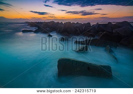 Ripples In Times; Sunrise At Jetty, Fort Pierce State Park, Florida