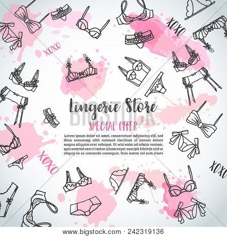Lingerie Horizontal Banners Fashion Bra And Pantie. Web Header Template Vector Illustration Lingerie