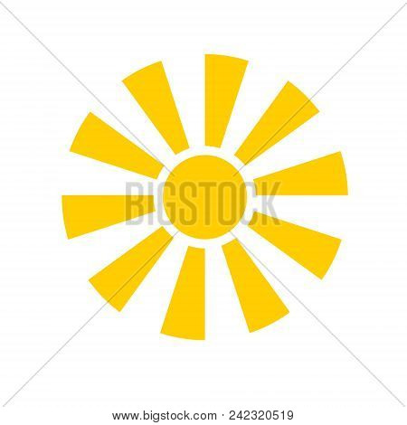 Yellow Sun Icon Isolated On White Background. Modern Simple Flat Sunlight, Sign. Trendy Vector Summe
