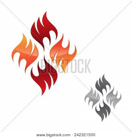 Creative, vector concept design flame icon isolated on the white background. Flaming fire shape sign symbol. Vector illustration EPS.8 EPS.10 poster